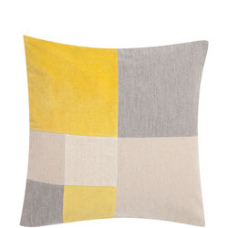 Cut & Sew Check Cushion Yellow/Multi 50 x 50cm