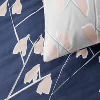 Scandi Lotta Print Cotton Duvet Cover Set Navy/Pink