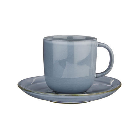 Glaze Double Cup and Saucer Blue