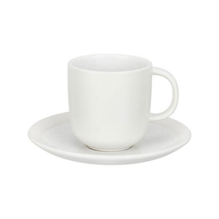 Glaze Speckle Cup and Saucer White