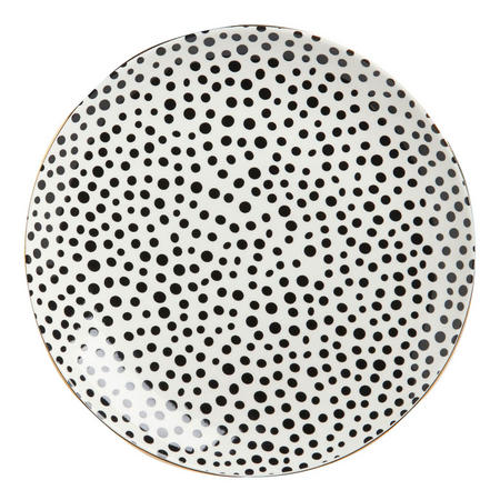 Gold Edge Spots Plate 21cm Black/White