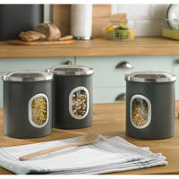 Set Of Three Canisters Grey