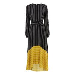 Contrast Hem Stripe Midi Dress