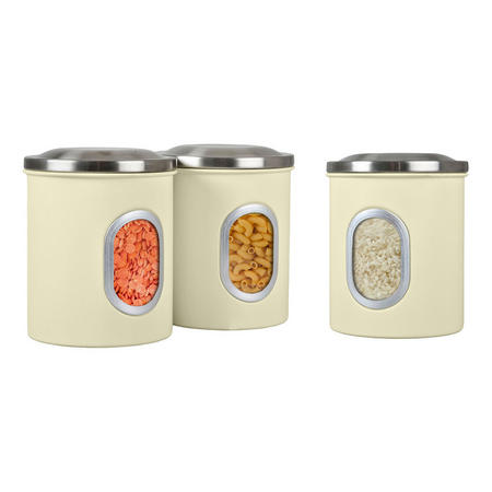 Set Of Three Canisters Cream