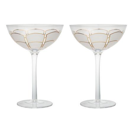 Deco Coupe Glasses White/Gold