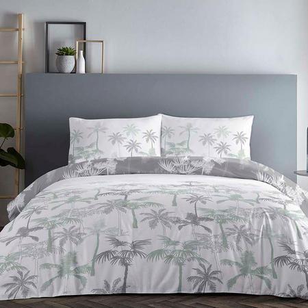 Palm Tree Duvet Set Green-Grey