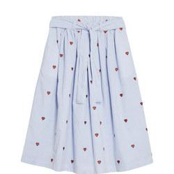 Heart Embroidered Stripe Skirt