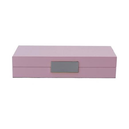 Pink Lacquer Box With Silver