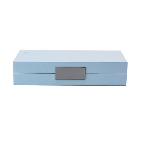 Light Blue Lacquer Box With Silver