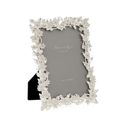 Silver Leaf & Ivory Flower Frame 5x7 Inches