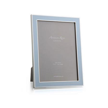 Powder Blue Enamel & Silver Frame 5x7 Inches