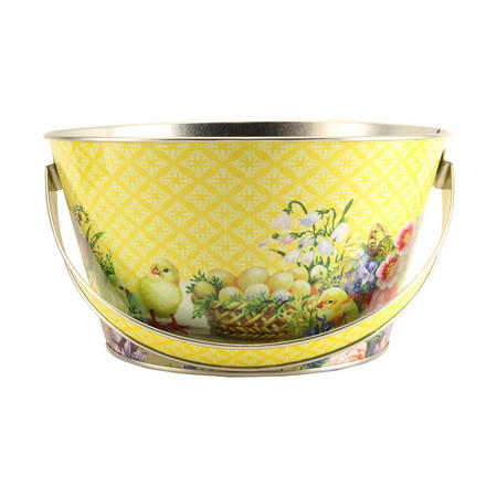 Easter Tin Basket With Flowers, Chicks And Egg