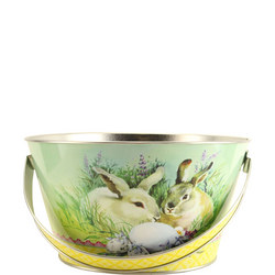 Easter Tin Basket with Bunnies and Egg