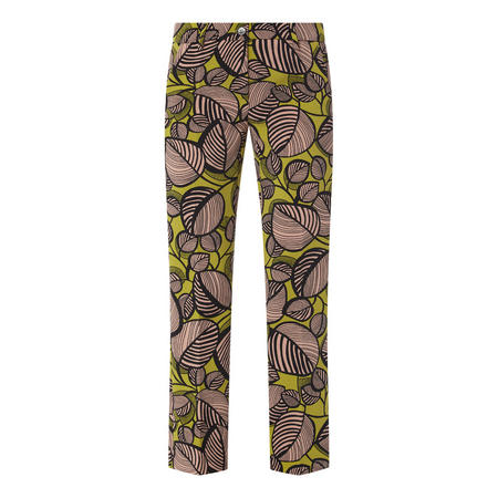Leaf Print Cropped Trousers