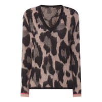 Leopard Print V-Neck Sweater