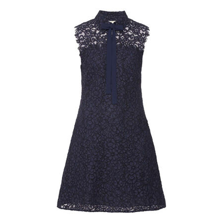 Corded Lace Tie-Neck Dress