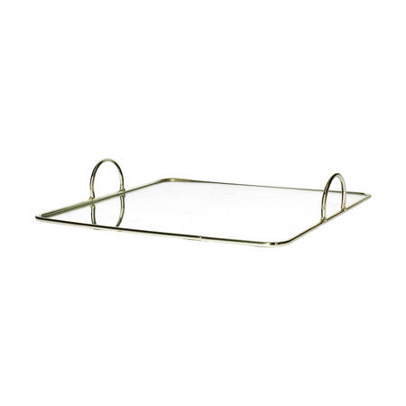 Gold Edged Square Mirror Tray