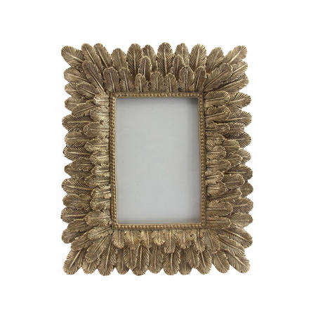 Old Gold Resin Feather Picture Frame