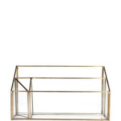 Brass and Glass Letter Rack Organiser