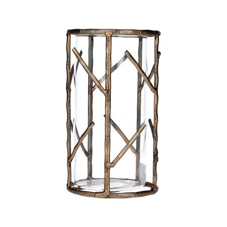 Old Gold Bamboo Metal Small Tealight Holder
