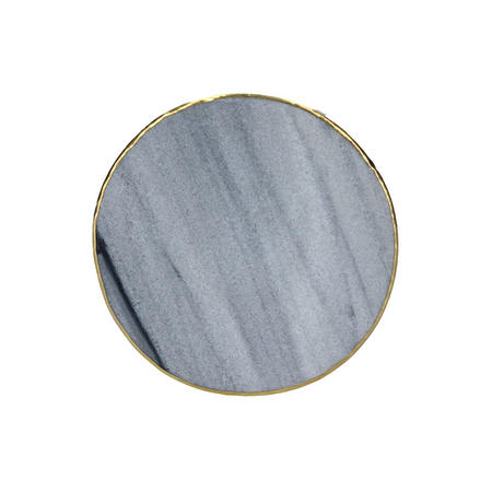 Grey Marble Metal Edge Round Coaster