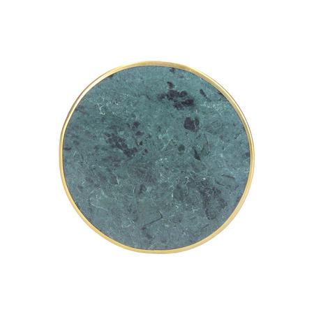 Green Marble Metal Edge Round Coaster