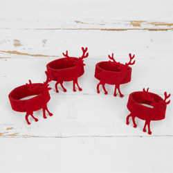 Set Of Four Red Felt Napkin Rings