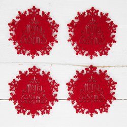 Set Of Four Red Felt Snowflake Coasters