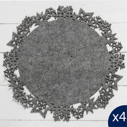 Set Of Two Grey Felt Snowflake Placemats 28cm