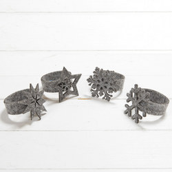 Set Of Four Snowflake Napkin Rings