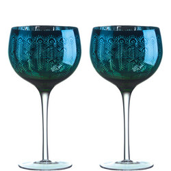 Peacock Gin Glasses Set of Two