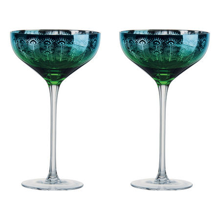 Peacock Champagne Saucers Set of Two