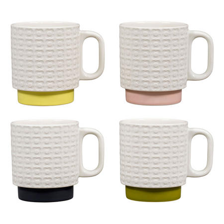 Pressed Flower Stacking Mugs Set of Four