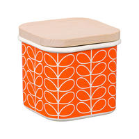 Linear Stem Persimmon Enamel Storage Jar