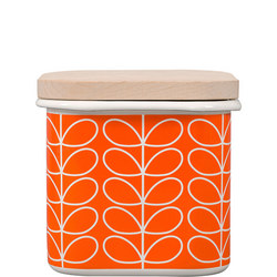 Linear Stem Persimmon Enamel Storage Jar