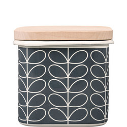 Enamel Storage Jar Linear Stem Slate