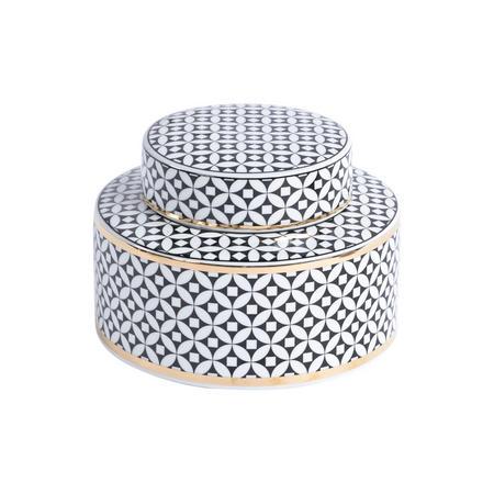 Black And Gold Print Small Ceramic Lidded Jar