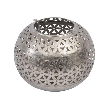 Namala Antique Nickel Round Iron Tealight Holder