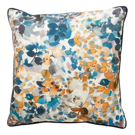 Leaf Pattern Cushion Blue Ochre