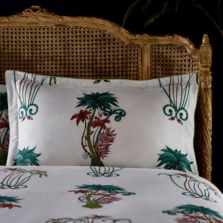 Jungle Palms Oxford Pillowcase White