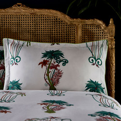 Jungle Palms Oxford Pillowcase White