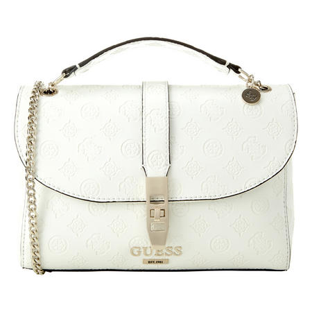 Embossed Logo Flap Shoulder Bag