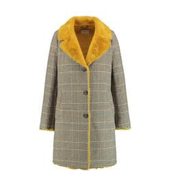 Check Faux Fur Coat