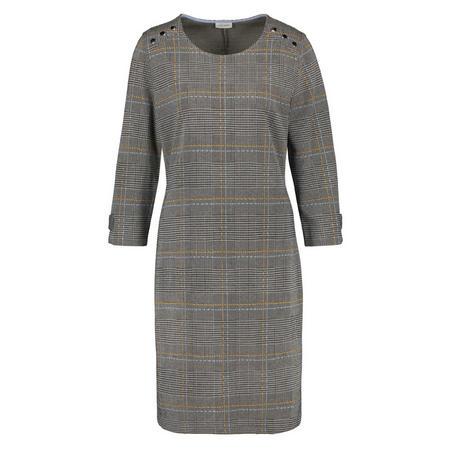 Button Shoulder Check Shift Dress