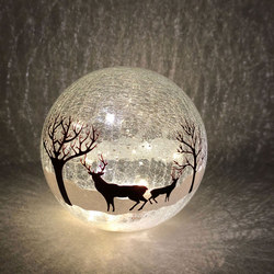 Crackle Effect Reindeer Ball 20cm