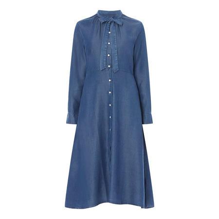 Chambray Bow Shirt Dress