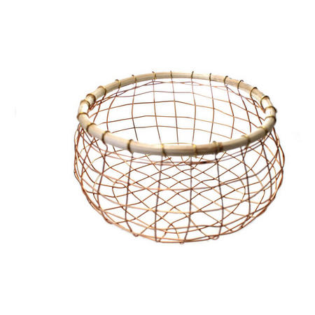 Copper Wire And Cane Basket 24cm