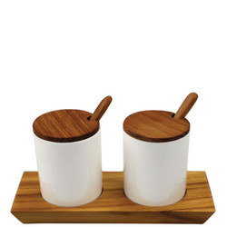 Ceramic Cellars With Teak Lid And Spoon