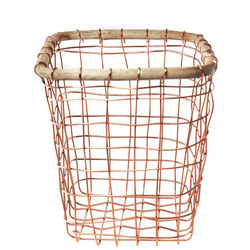 Copper Wire And Cane Utensil Holder 16.5cm