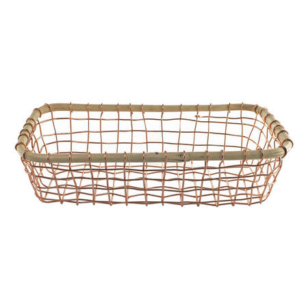 Copper Wire And Cane Basket 28cm